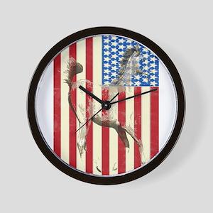 Patriotic Horse American Flag Wall Clock