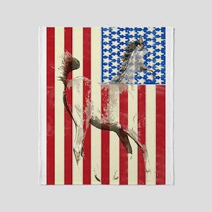 Patriotic Horse American Flag Throw Blanket