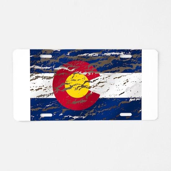 Colorado retro wash flag Aluminum License Plate