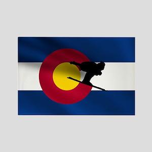 Colorado Skiing Rectangle Magnet