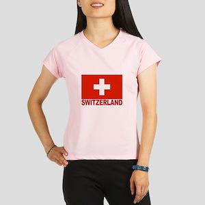 Switzerland Flag Women's double dry short sleeve m