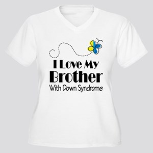 Down Syndrome Brother Women's Plus Size V-Neck T-S