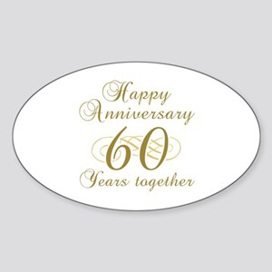 Stylish 60th Anniversary Sticker (Oval)