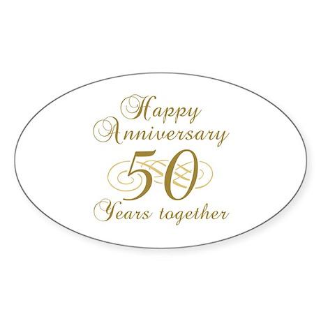 Stylish 50th Anniversary Sticker (Oval)