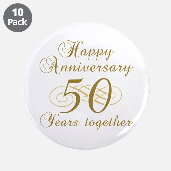 """Stylish 50th Anniversary 3.5"""" Button (10 pack)"""