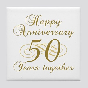 stylish 50th anniversary tile coaster