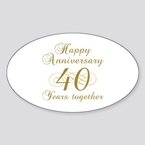 Stylish 40th Anniversary Sticker (Oval)