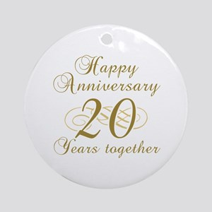 Stylish 20th Anniversary Ornament (Round)