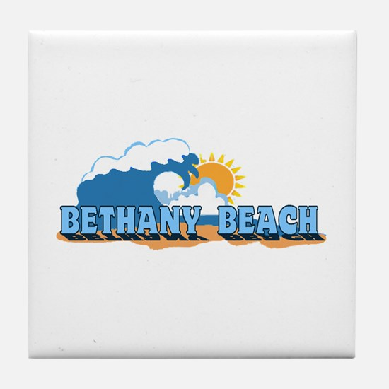 Bethany Beach DE - Waves Design Tile Coaster