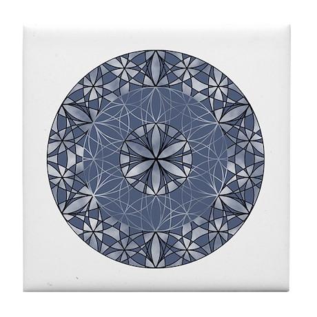 Sacred Geometry in Blue Tile Coaster