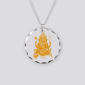 Jai Ganesh (Orange) Necklace Circle Charm