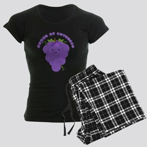 Cute Kawaii Grapes Women's Dark Pajamas