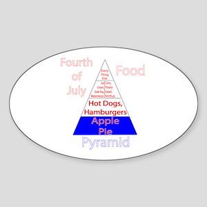 Fourth of July Food Pyramid Sticker (Oval)