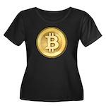 Bitcoins-5 Women's Plus Size Scoop Neck Dark T-Shi