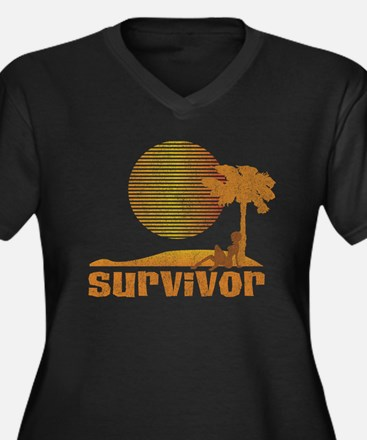 Vintage Survivor Sunset Women's Plus Size V-Neck D