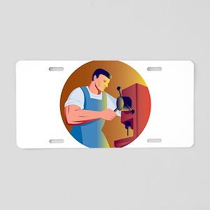 worker drill press Aluminum License Plate