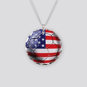 U.S. Soccer Ball Necklace Circle Charm