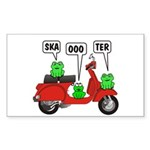 Scooter Frog Rectangle Sticker