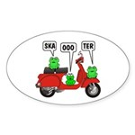Scooter Frog Oval Sticker