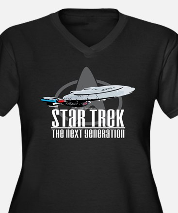 Star Trek TNG Women's Plus Size V-Neck Dark T-Shir