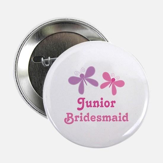 """Butterflies Junior Bridesmaid 2.25"""" Button"""