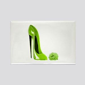 Lime green stiletto shoe and Rectangle Magnet
