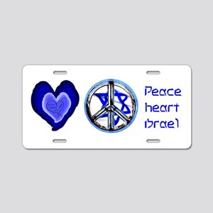 PEACE HEART ISRAEL / JEWISH Aluminum License Plate