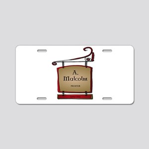 Jamie A. Malcolm Printer Aluminum License Plate