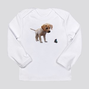 Cute Lab Puppy Eyeing Blue But Long Sleeve T-Shirt