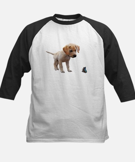 Cute Lab Puppy Eyeing Blue Butterf Baseball Jersey