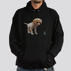 Cute Lab Puppy Eyeing Blue Butterfly Sweatshirt