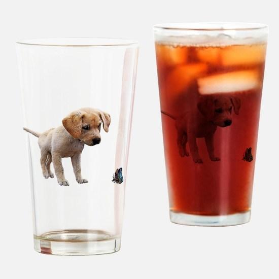 Cute Lab Puppy Eyeing Blue Butterfl Drinking Glass
