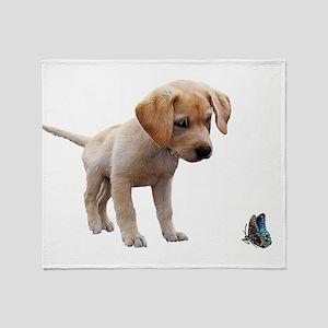 Cute Lab Puppy Eyeing Blue Butterfly Throw Blanket