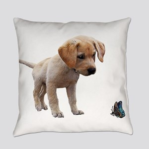 Cute Lab Puppy Eyeing Blue Butterf Everyday Pillow