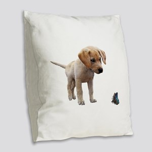 Cute Lab Puppy Eyeing Blue But Burlap Throw Pillow