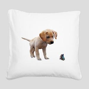 Cute Lab Puppy Eyeing Blue Bu Square Canvas Pillow