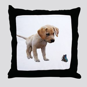 Cute Lab Puppy Eyeing Blue Butterfly Throw Pillow
