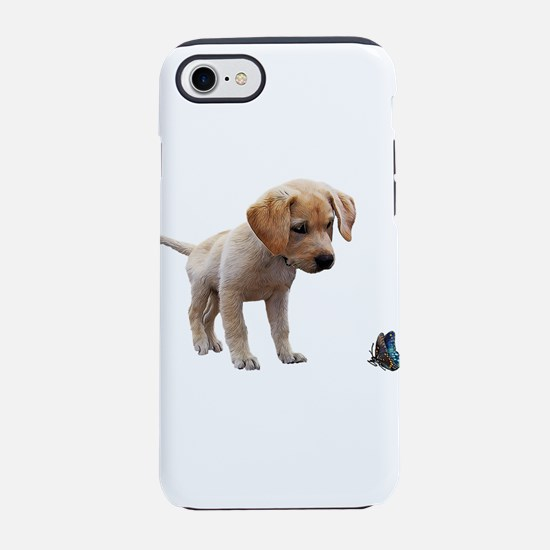 Cute Lab Puppy Eyeing Blue But iPhone 7 Tough Case