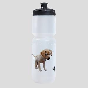 Cute Lab Puppy Eyeing Blue Butterfly Sports Bottle