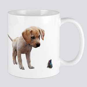Cute Lab Puppy Eyeing Blue Butterfly Mugs