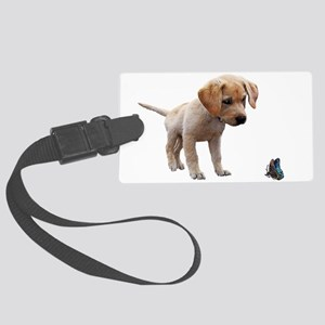 Cute Lab Puppy Eyeing Blue Butte Large Luggage Tag