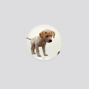 Cute Lab Puppy Eyeing Blue Butterfly Mini Button