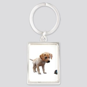 Cute Lab Puppy Eyeing Blue Butterfly Keychains