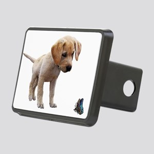 Cute Lab Puppy Eyeing Blue Rectangular Hitch Cover