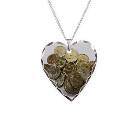 1964 Kennedy Halves Necklace Heart Charm