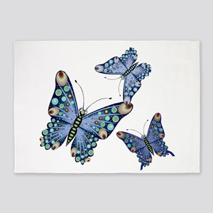 Trio of Assorted Blue Butterflies 5'x7'Area Rug