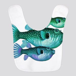 Trio of Blue Green Puffer Fish Polyester Baby Bib