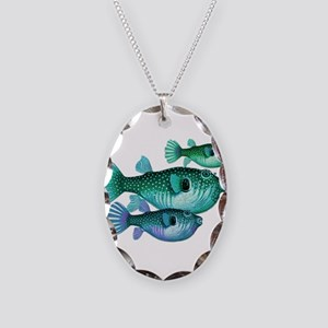 Trio of Blue Green Puffer Fish Necklace Oval Charm