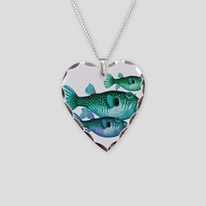 Trio of Blue Green Puffer Fis Necklace Heart Charm