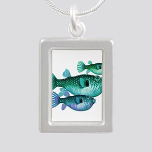 Trio of Blue Green Puffer Fish Necklaces